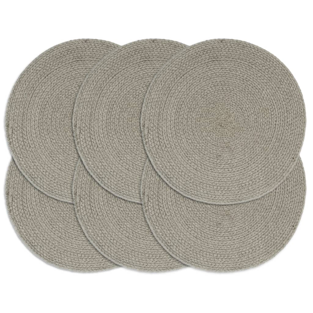 Placemats 6 pcs Plain Grey 38 cm Round Cotton