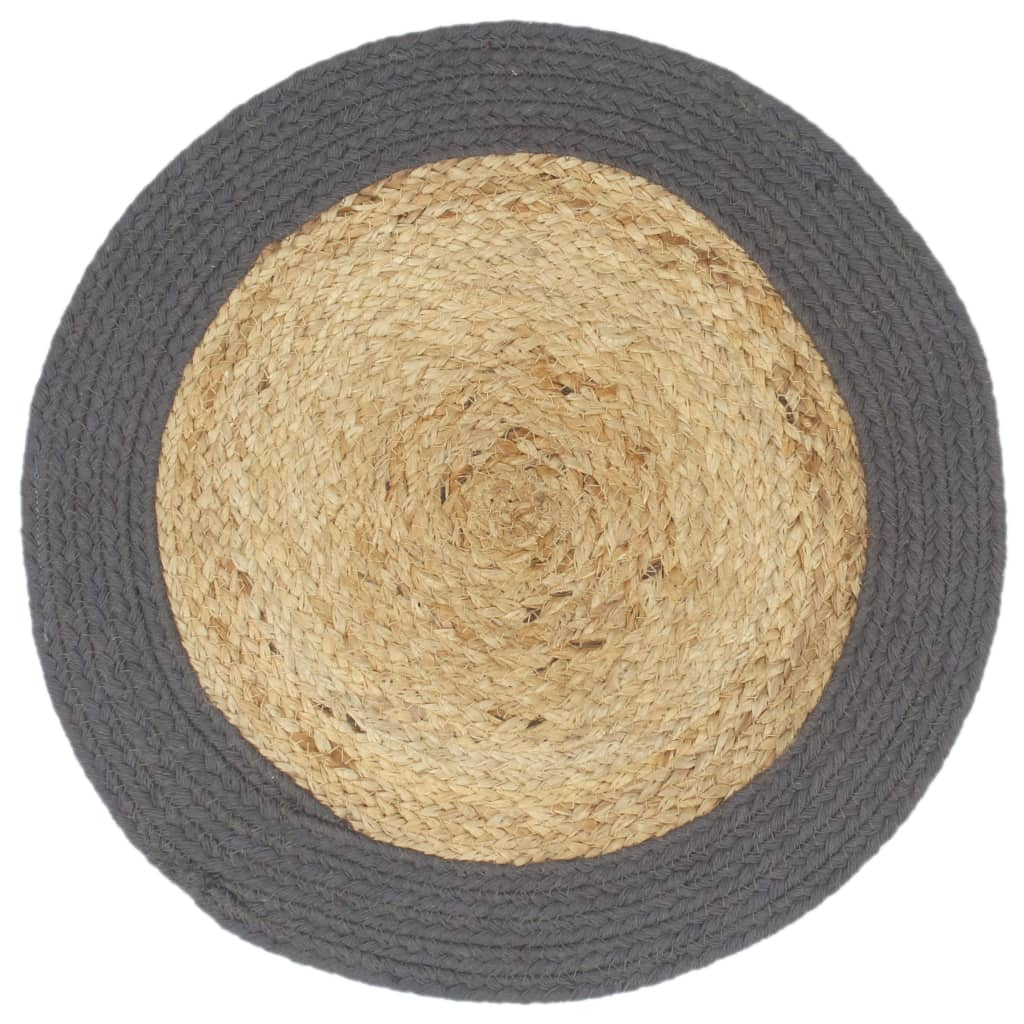 Placemats 6 pcs Natural and Anthracite 38 cm Jute and Cotton