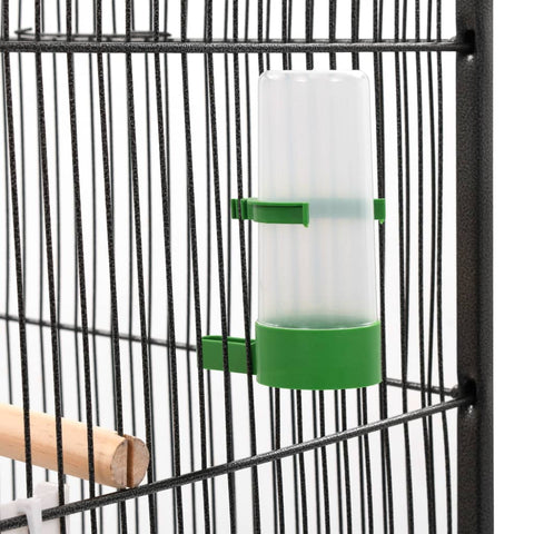 Bird Cage with Roof Grey 66x66x155 cm Steel