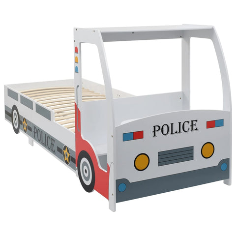 Children's Police Car Bed with Desk 90x200 cm