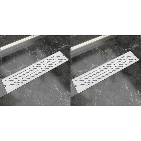 Linear Shower Drain 2 pcs Wave 530x140 mm Stainless Steel