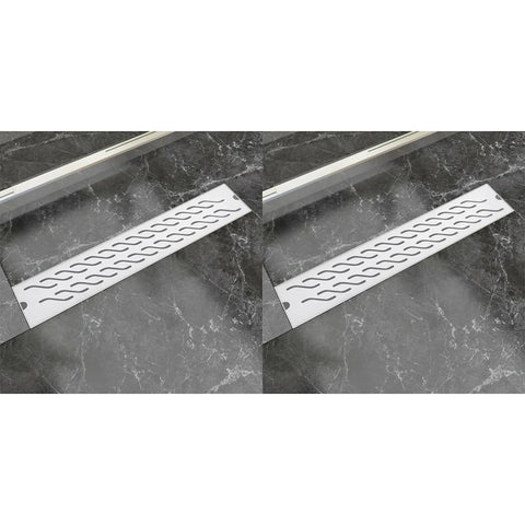 Linear Shower Drain 2 pcs Wave 630x140 mm Stainless Steel