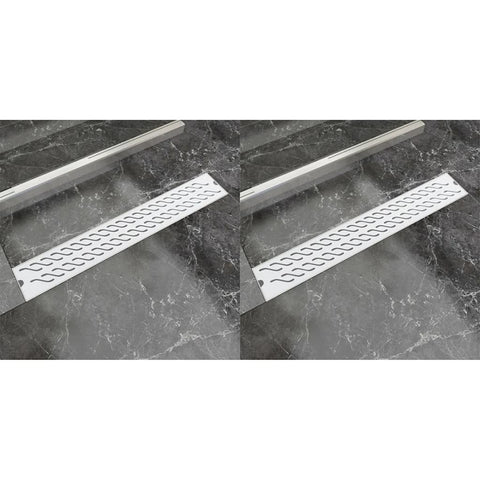 Linear Shower Drain 2 pcs Wave 730x140 mm Stainless Steel