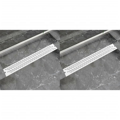 Linear Shower Drain 2 pcs Wave 830x140 mm Stainless Steel