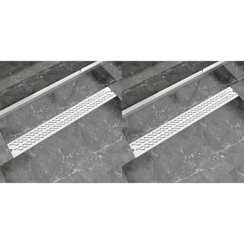 Linear Shower Drain 2 pcs Wave 930x140 mm Stainless Steel