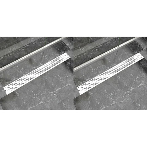 Linear Shower Drain 2 pcs Wave 1030x140 mm Stainless Steel