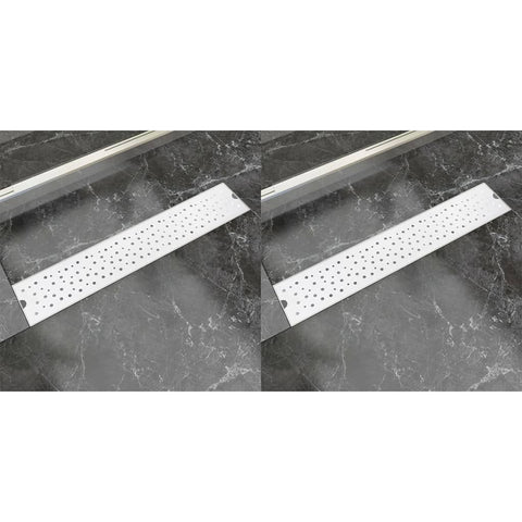 Linear Shower Drain 2 pcs Bubble 630x140 mm Stainless Steel