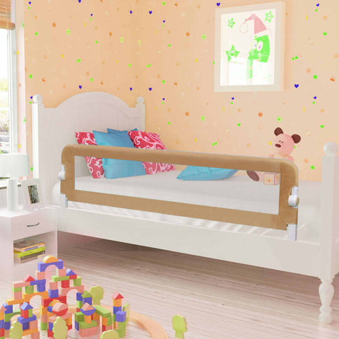 Toddler Safety Bed Rail Taupe 150x42 cm Polyester