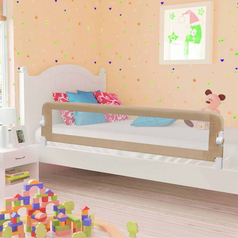 Toddler Safety Bed Rail Taupe 180x42 cm Polyester