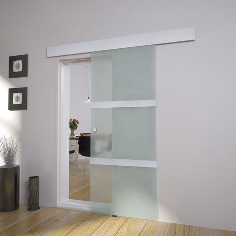 Sliding Door Glass and Aluminium 178 cm Silver