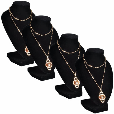 Flannel Jewelry Holder Necklace Bust Black 9 x 8.5 x 15 cm 4 pcs