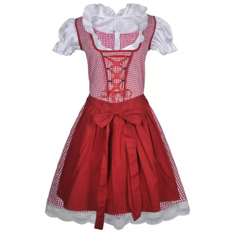 Oktoberfest Dirndl Dress Trachtenkleid with Apron Red M / L