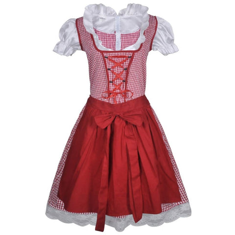 Oktoberfest Dirndl Dress Trachtenkleid with Apron Red L / XL