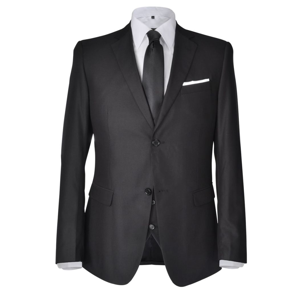 Three Piece Men's Business Suit Size 46 Black