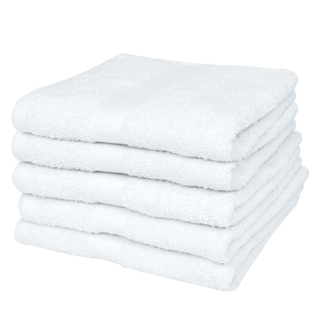 Home Bath Towel Set 5 pcs Cotton 500 gsm 100x150 cm White