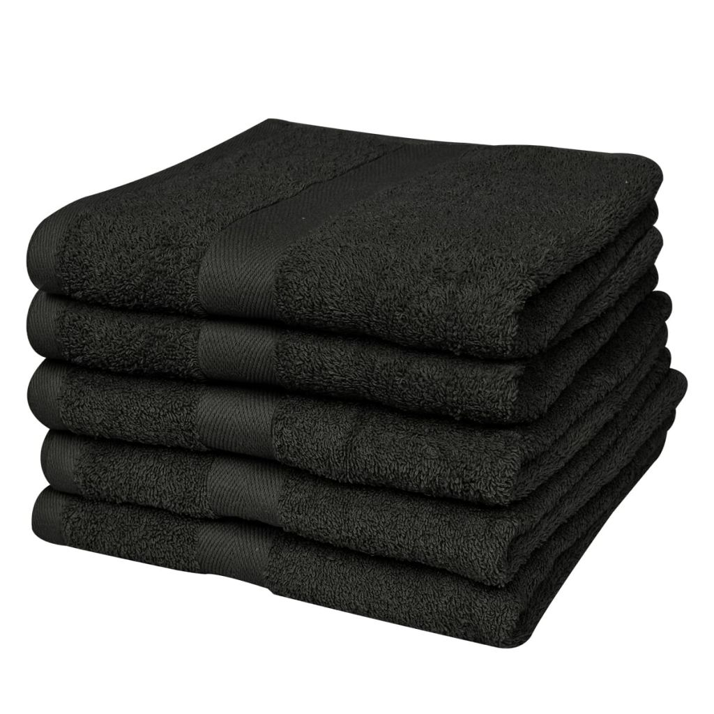Home Shower Towel Set 5 pcs Cotton 500 gsm 70x140 cm Black