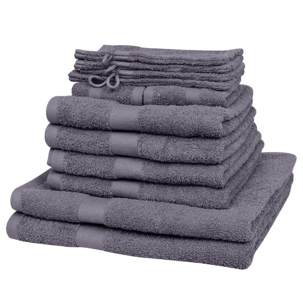 12 Piece Home Towel Set Cotton 500 gsm Anthracite