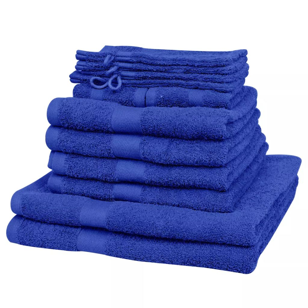 12 Piece Home Towel Set Cotton 500 gsm Royal Blue