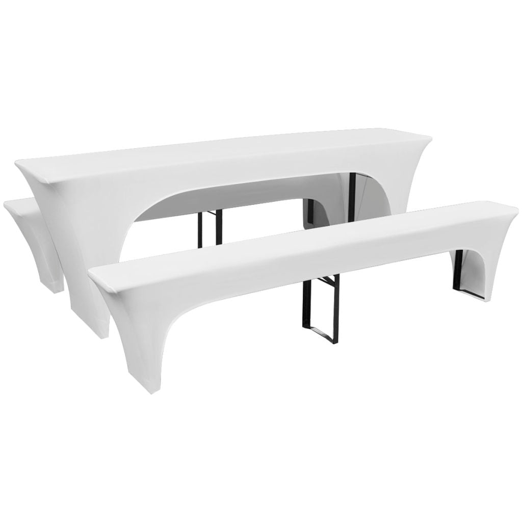 3 Slipcovers for Beer Table and Benches Stretch White 220 x 50 x 80 cm