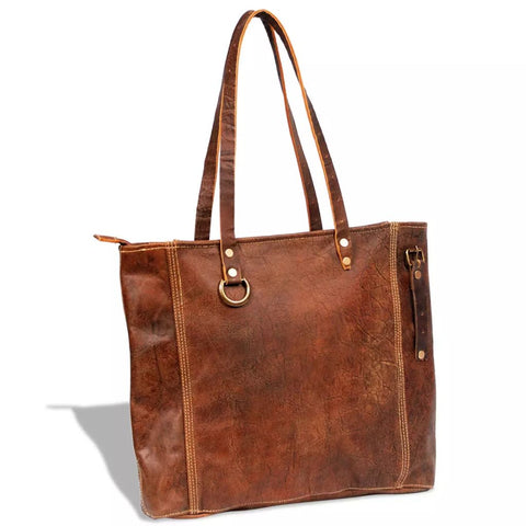 Real Leather Shopper Bag Brown