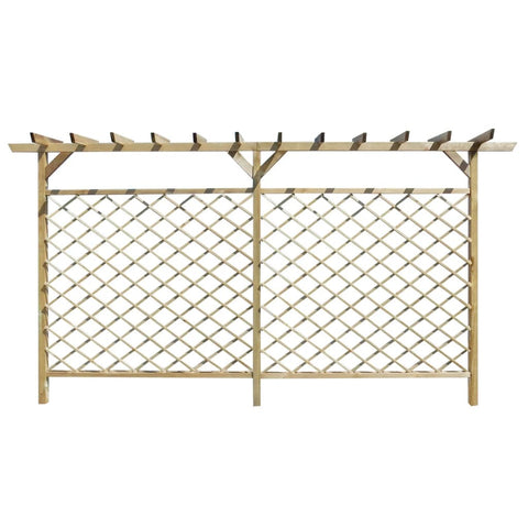 Garden Lattice Fence with Pergola Top Wood