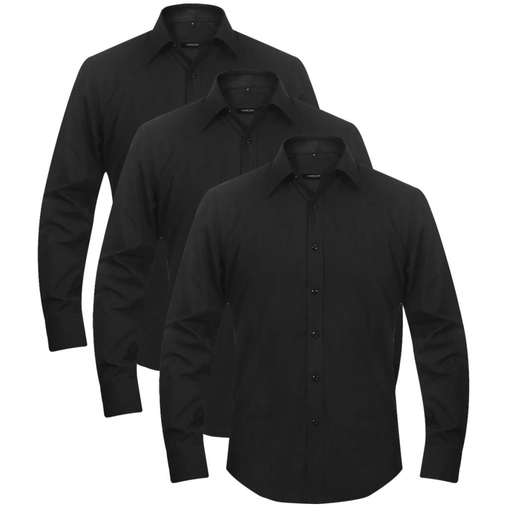 3 Men's Business Shirts Size M Black