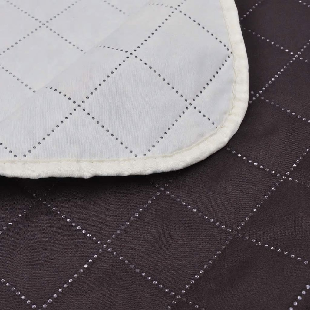 Double-sided Quilted Bedspread Beige/Brown 220 x 240 cm