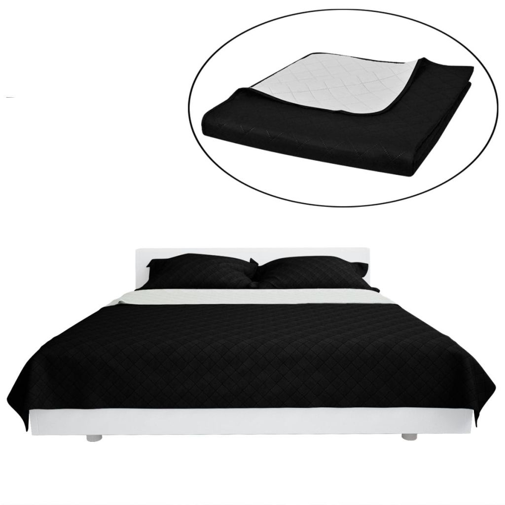Double-sided Quilted Bedspread Black/White 220 x 240 cm
