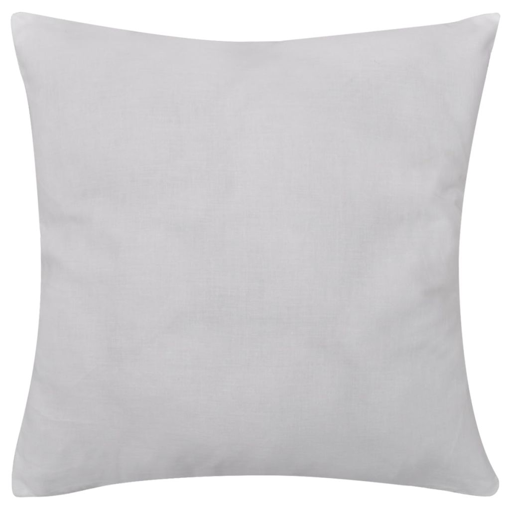4 White Cushion Covers Cotton 50 x 50 cm