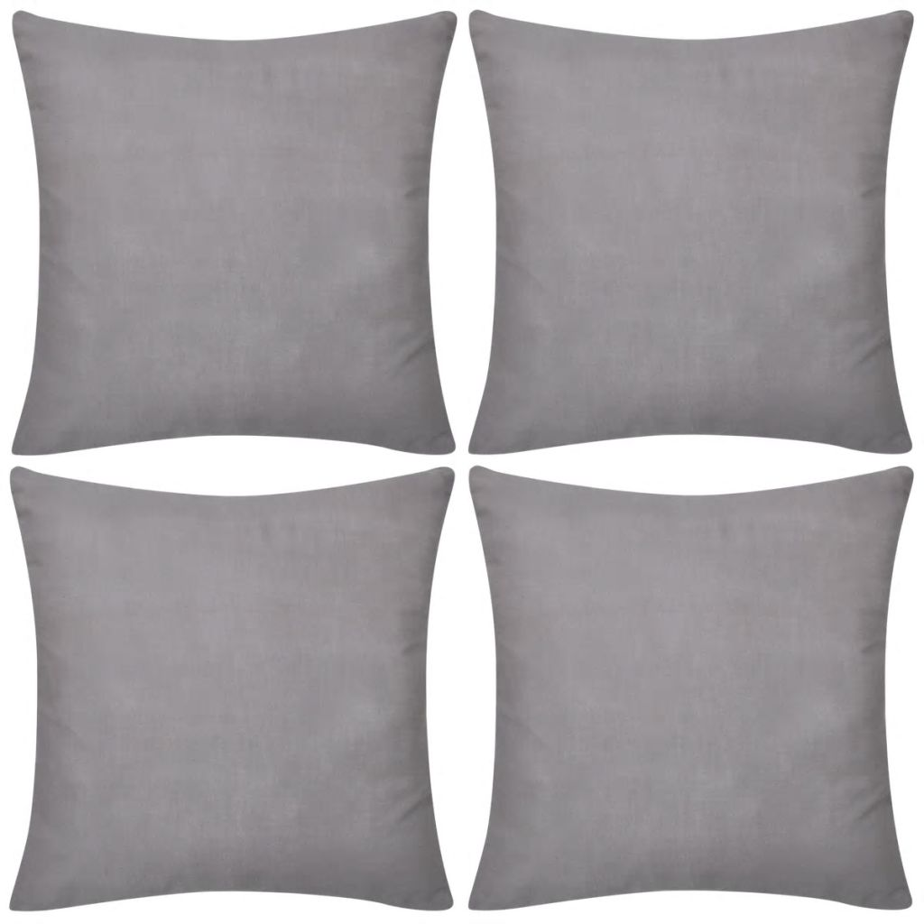 4 Grey Cushion Covers Cotton 40 x 40 cm