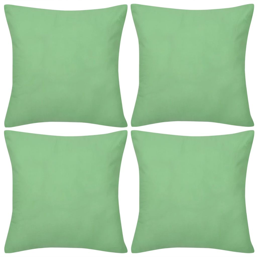 4 Apple Green Cushion Covers Cotton 80 x 80 cm