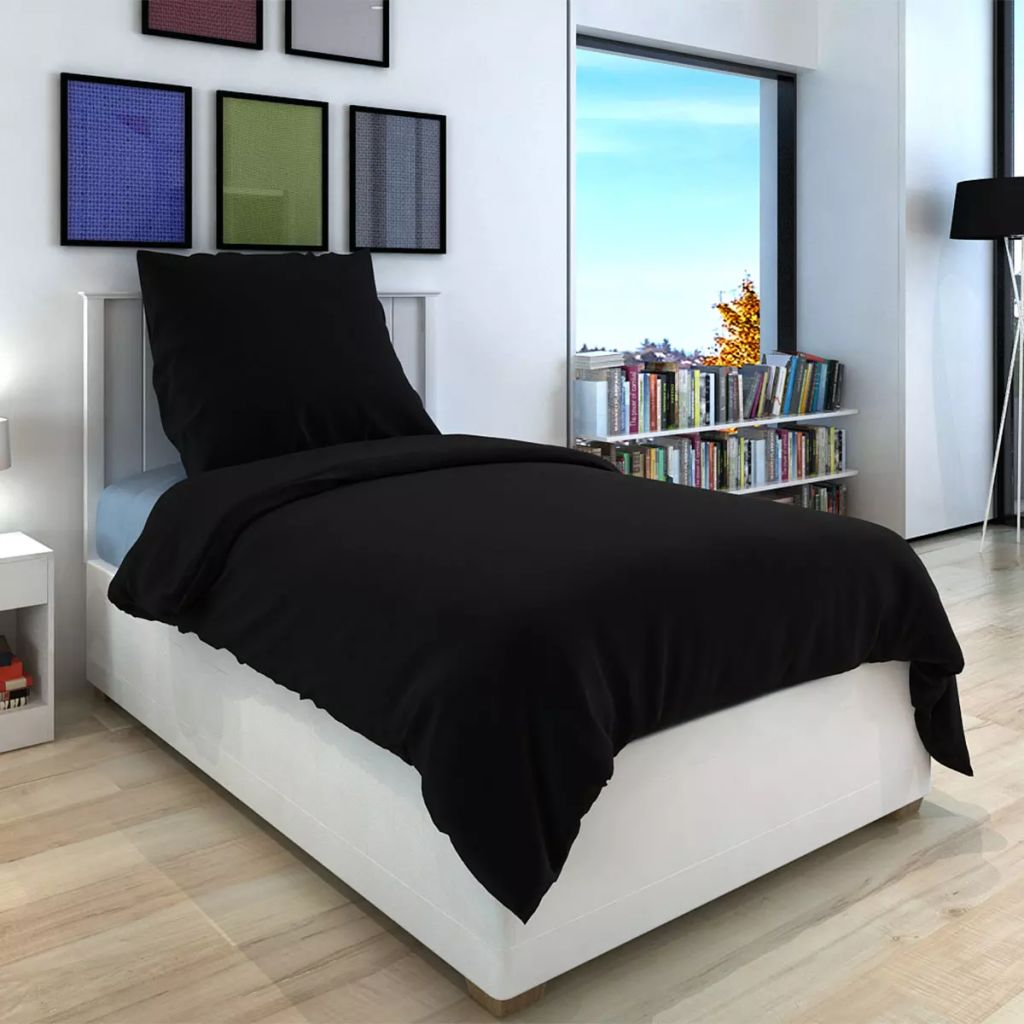 Duvet Cover Set Cotton Black 155x200/80x80 cm