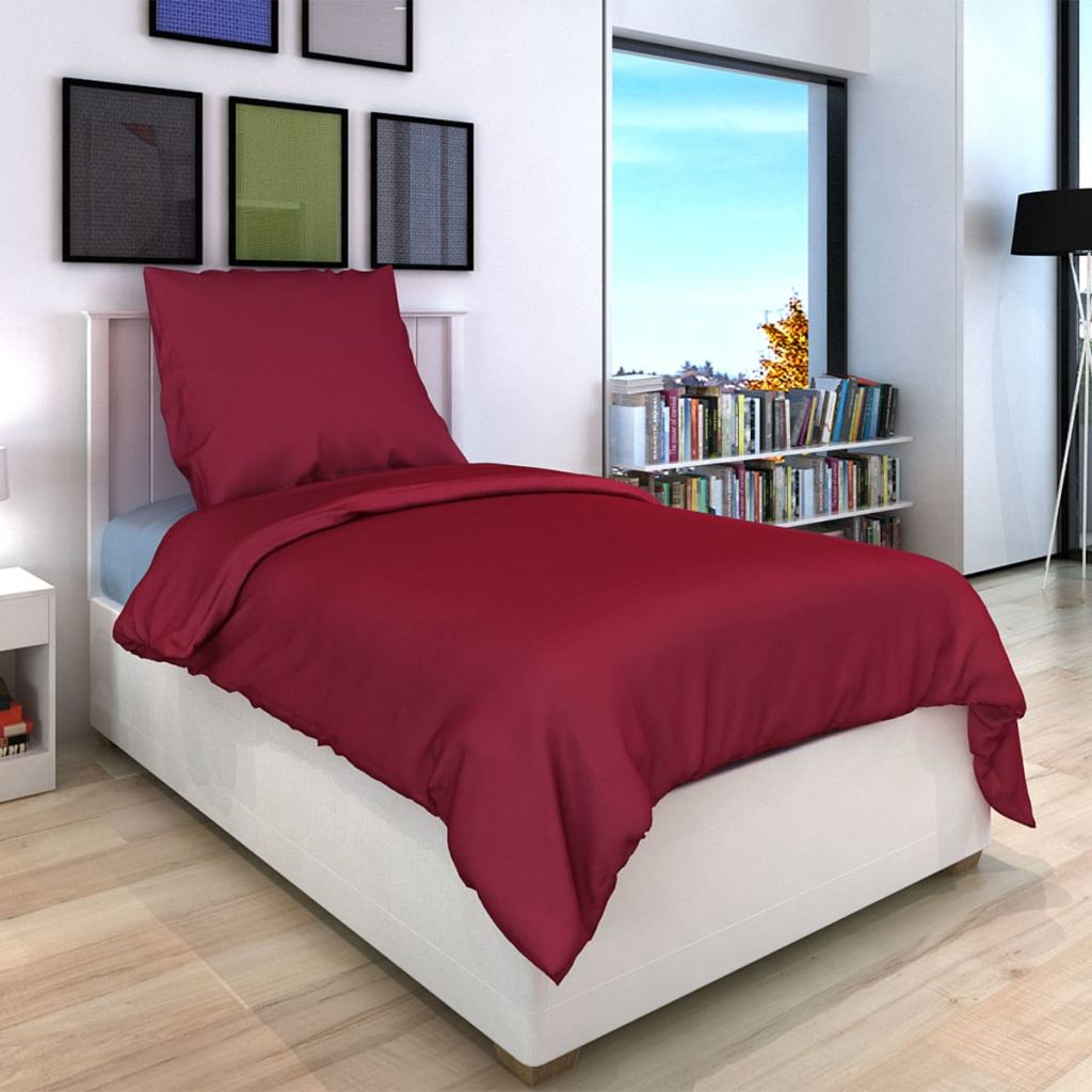 Duvet Cover Set Cotton Burgundy 135x200/80x80 cm