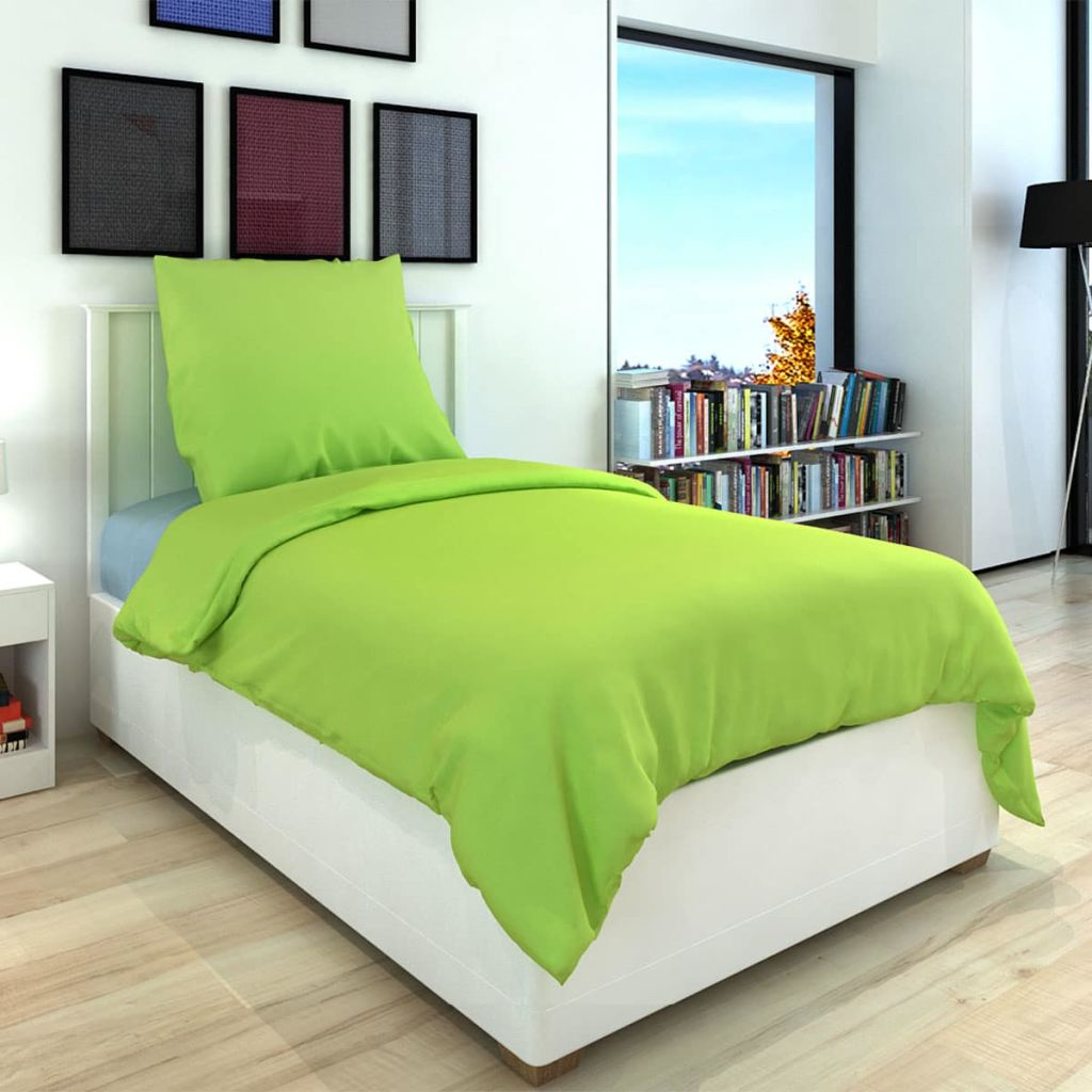 Duvet Cover Set Cotton Green 155x200/80x80 cm