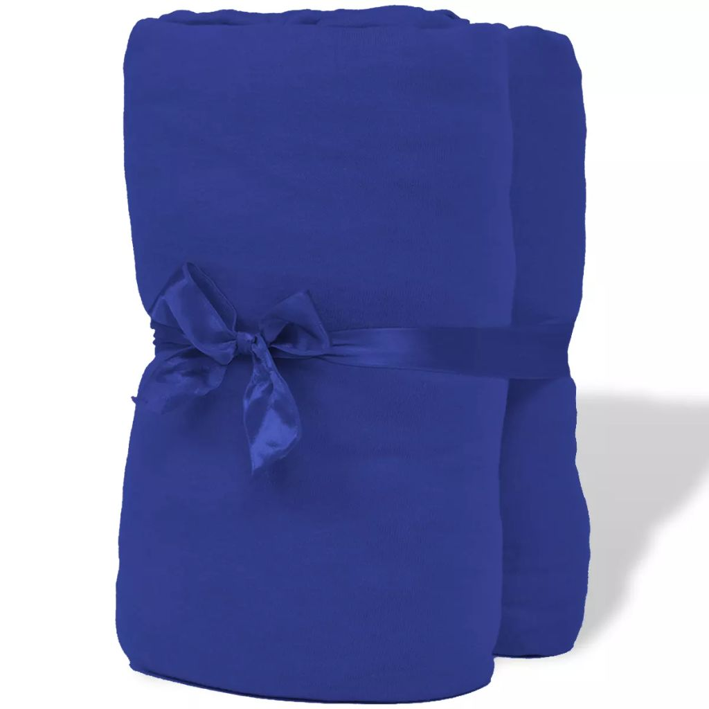 Fitted Sheet 2 pcs Cotton Jersey 180x200-200x220 cm Blue
