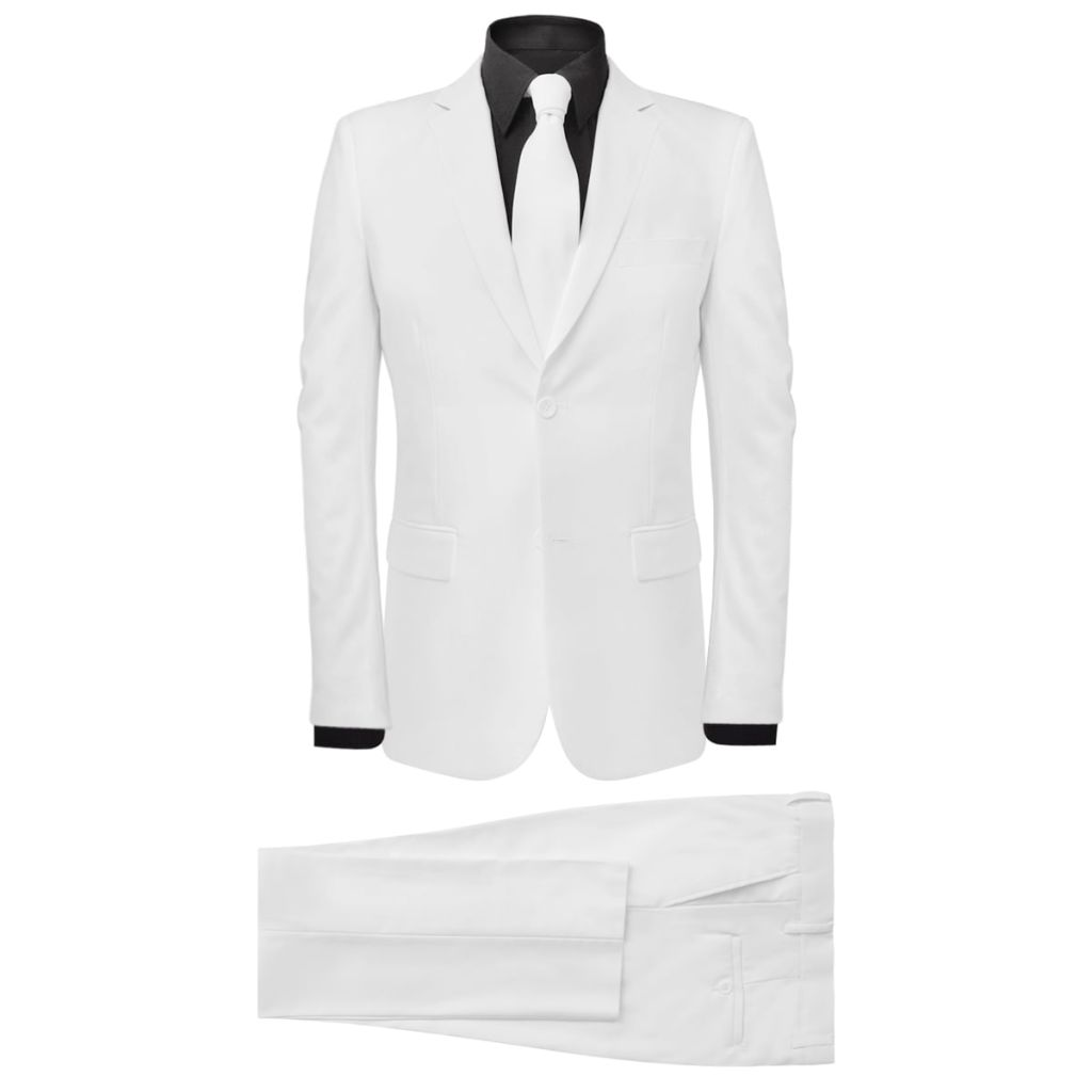 Men's Two Piece Suit with Tie White Size 54