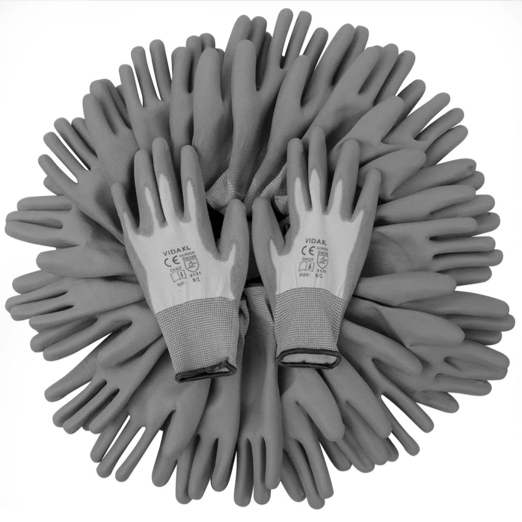 Work Gloves PU 24 Pairs White and Grey Size 9/L