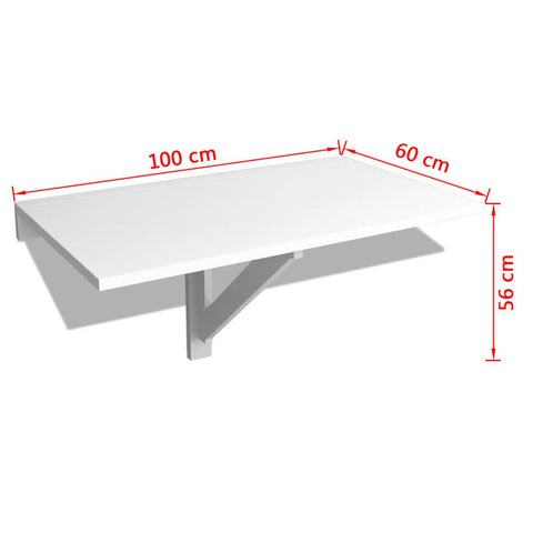 Folding Wall Table White 100x60 cm