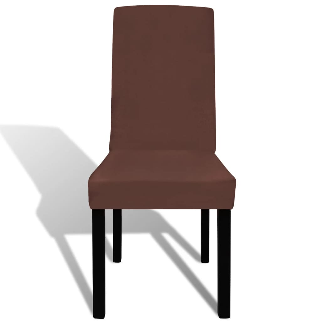 Straight Stretchable Chair Cover 6 pcs Brown
