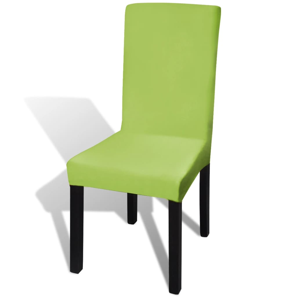 Straight Stretchable Chair Cover 6 pcs Green
