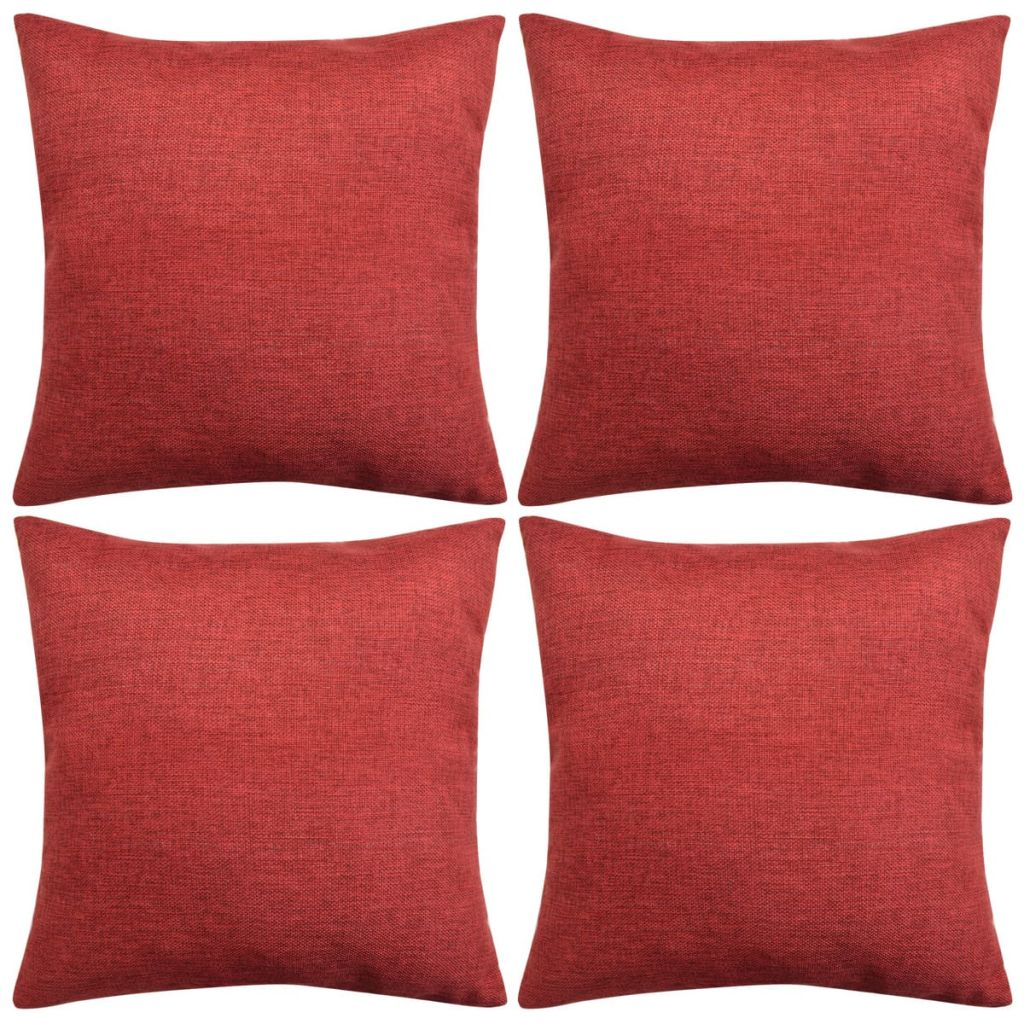Cushion Covers 4 pcs Linen-look Burgundy 40x40 cm