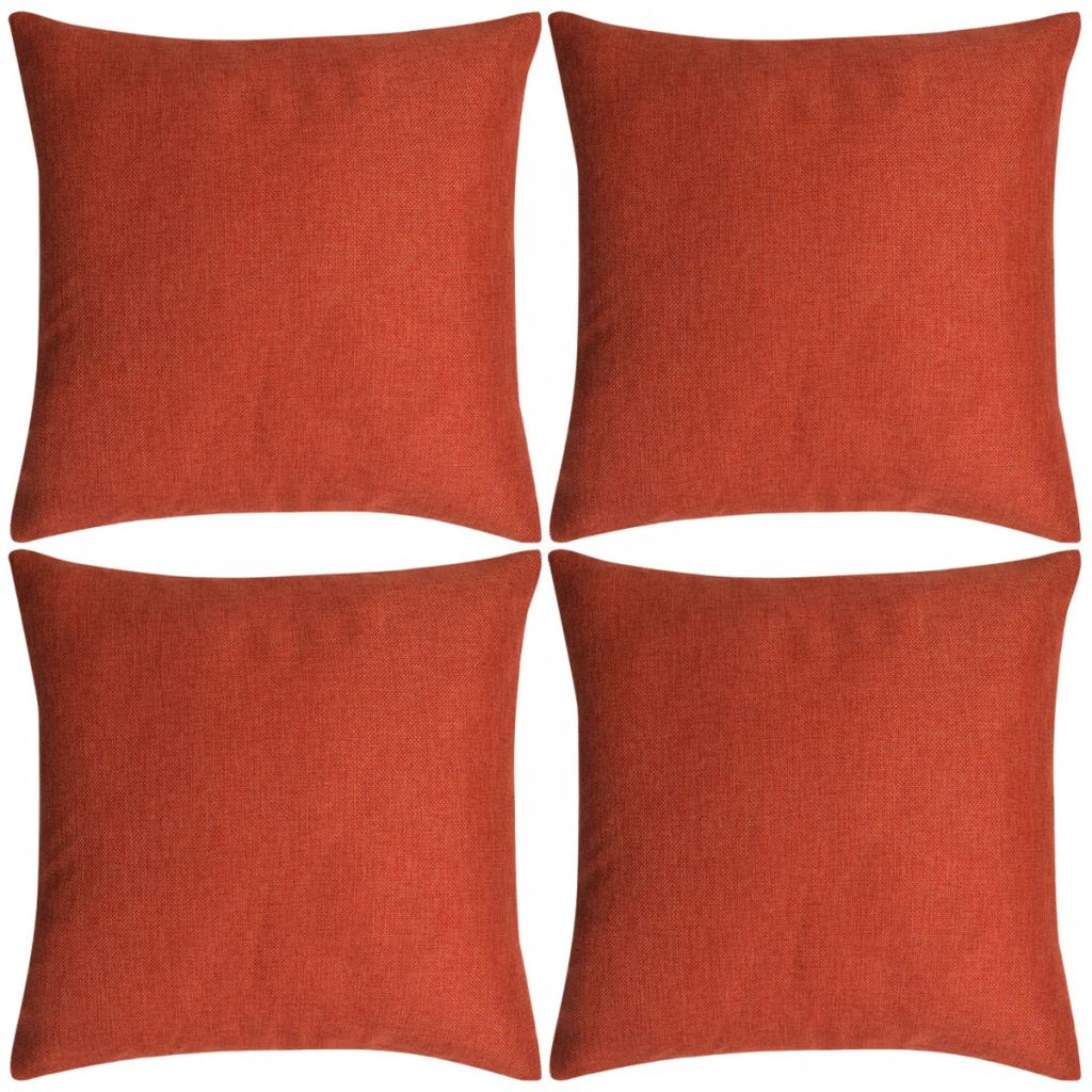 Cushion Covers 4 pcs Linen-look Terracotta 80x80 cm