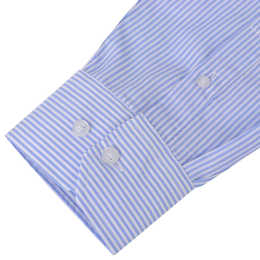 Men's Business Shirt White and Light Blue Stripe Size XXL
