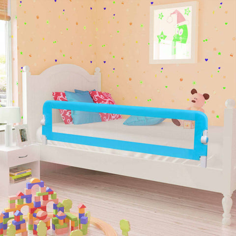 Toddler Safety Bed Rail 2 pcs Blue 150x42 cm