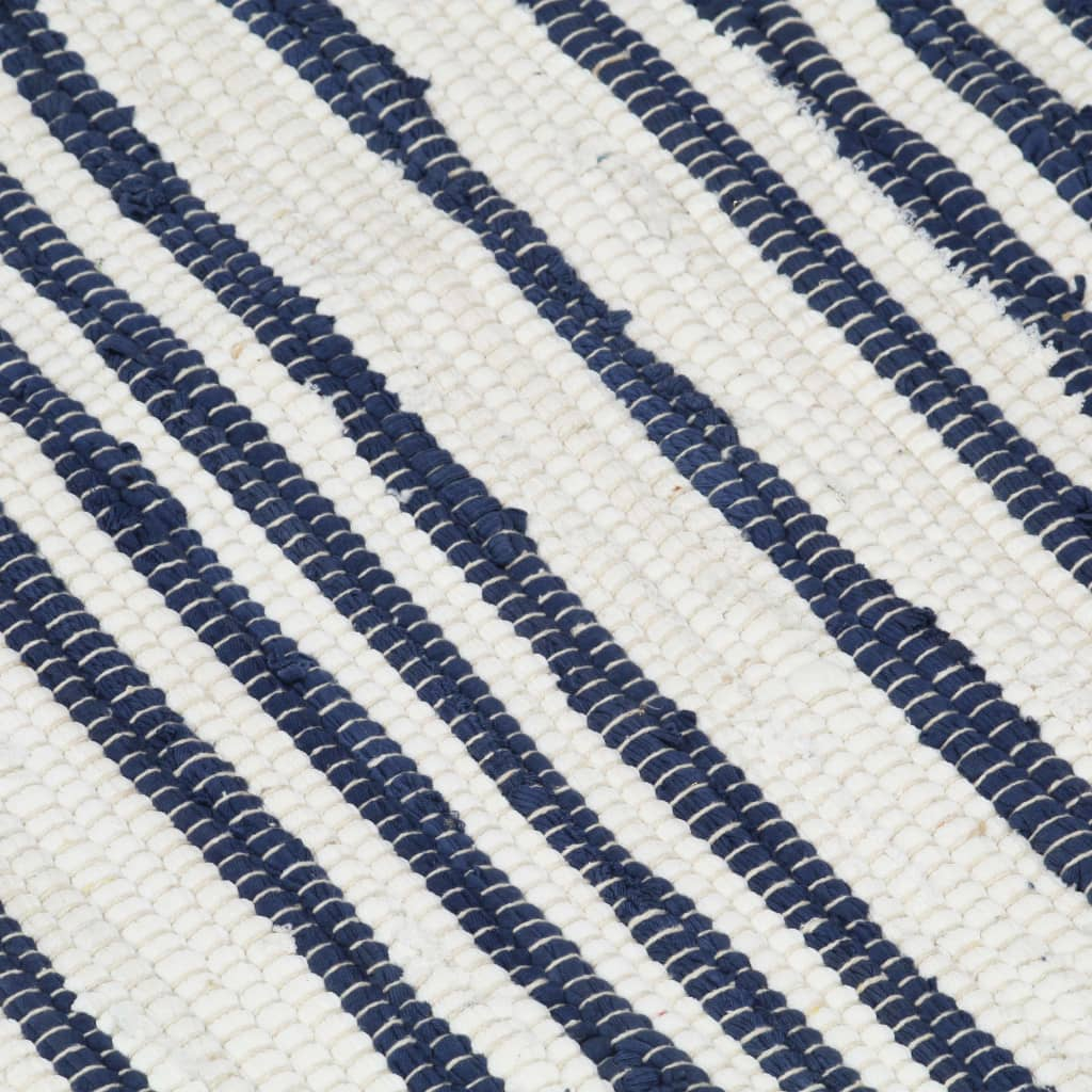 Hand-woven Chindi Rug Cotton 80x160 cm Blue and White