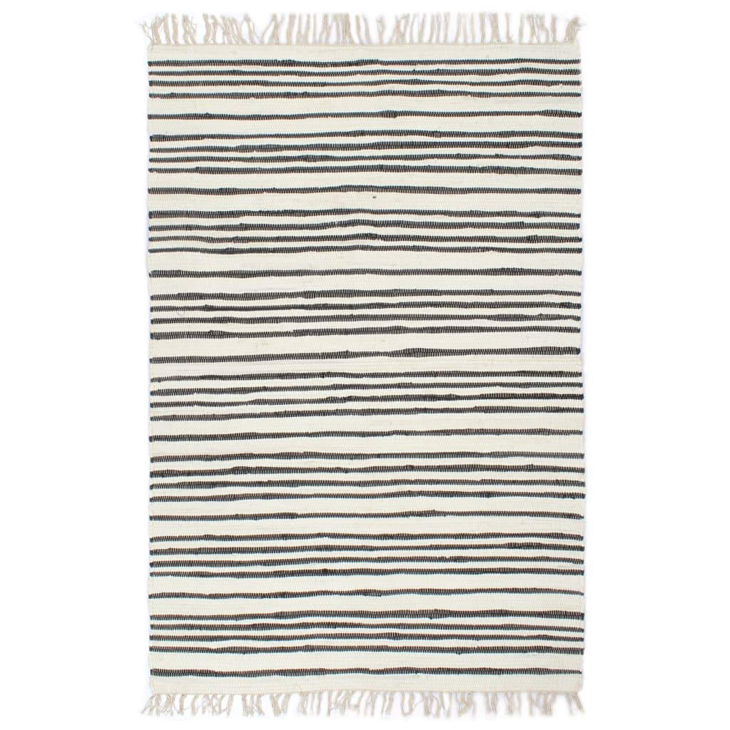 Hand-woven Chindi Rug Cotton 120x170 cm Anthracite and White
