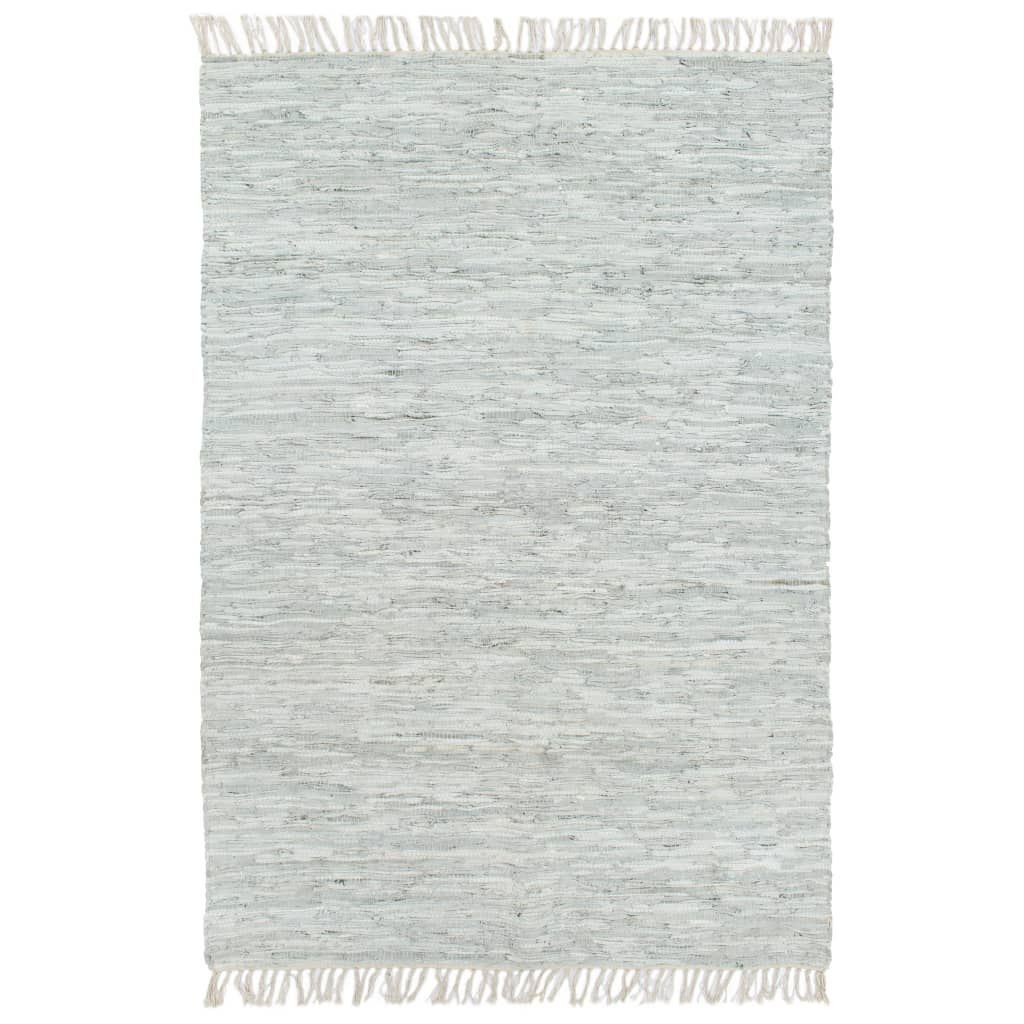 Hand-woven Chindi Rug Leather 190x280 cm Light Grey