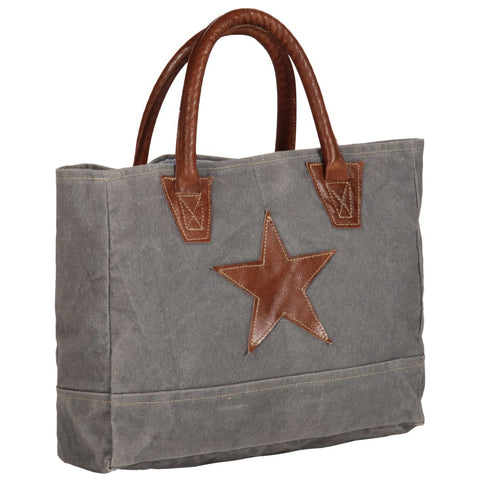 Shopper Bag Dark Grey 32x10x37.5 cm Canvas and Real Leather