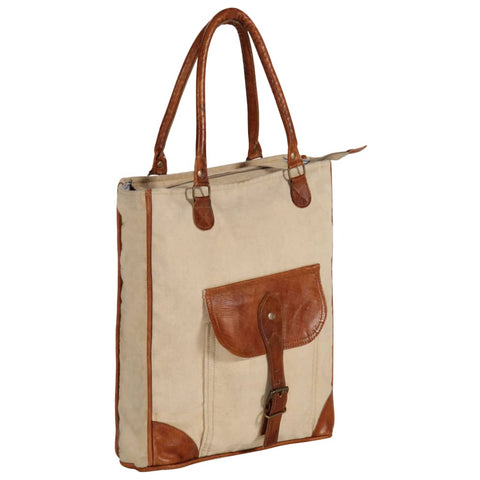 Shopper Bag Beige 34.5x10x57 cm Canvas and Real Leather