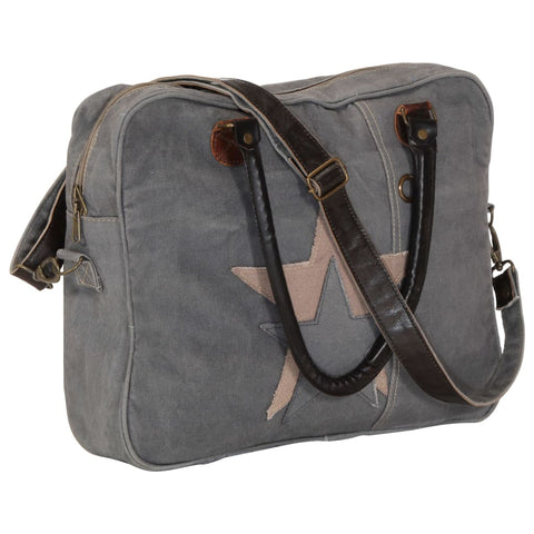 Hand Bag Dark Grey 40x54 cm Canvas and Real Leather